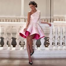 Light Pink Short Bridesmaid Dresses Aliexpress Com Buy Elegant Satin One Shoulder Half Sleeves A