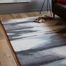 Modern Ikat Rug Faded Ikat Wool Rug Slate Ikat Wool Rug And Living Rooms
