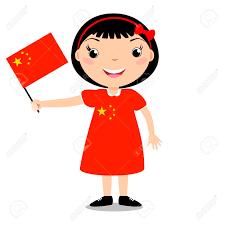 Holding The Flag Smiling Child Holding A China Flag Isolated On White