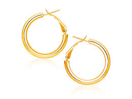 gold back earrings omega back high hoop earrings in 14k yellow gold 0 78 inch