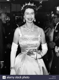 queen elizabeth ii at a film premiere about 1955 stock photo