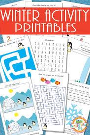 printable winter activity sheets for kids winter activities