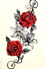 lily flowers and red roses tattoos design