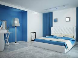 blue color wall standing floor lamp bedroom paint sofa headboards