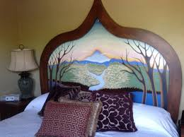 painted headboard hand painted headboard in our room photo