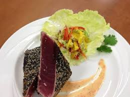 sesame ribbon crusted ahi tuna with soba noodles and mango ribbon salad