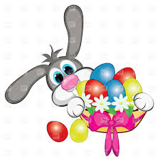 bunny with easter eggs and basket vector clipart image 7843