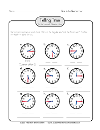 worksheet on what time is it