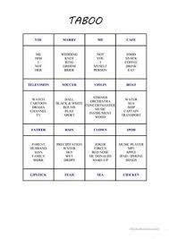 75 free esl taboo worksheets