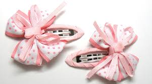 ribbon hair bow light pink ribbon bow hair clip breast cancer awareness think