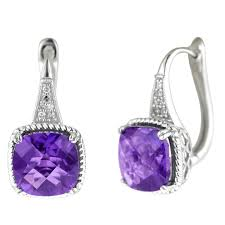 leverback earrings colore oro amethyst leverback earrings in 14kt white gold with