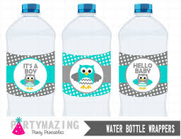 Owl Baby Shower Boy - owl printable water bottle wrappers owl it u0027s a boy baby shower
