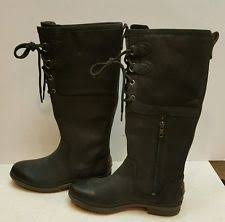 ugg s emalie boot ugg emalie leather black wedge boots us 6 womens