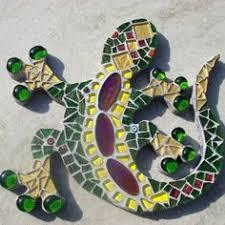 blue mosaic gecko lizard garden wall plaque by funkymosaicsuk