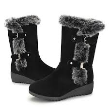 womens winter boots new women winter fashion plush mid calf boots keep warm non slip