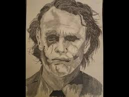 pencil drawing heath ledger as the joker youtube