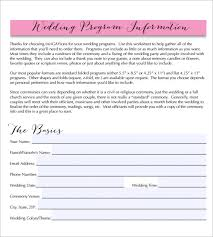 wedding program formats sle wedding program template 9 documents in pdf