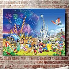 no frame disney castle series hd canvas print wall art oil