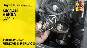 how to replace the thermostat on a nissan versa 2007 2014 youtube