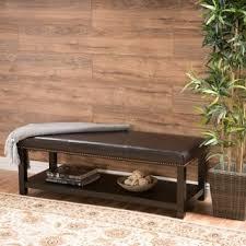 adeco brown bonded leather storage ottoman with bottom shelf