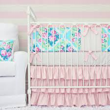 Baby Bedding Riley U0027s Rose Pink U0026 Aqua Crib Set Caden Lane