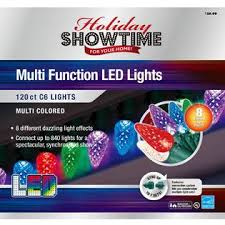 8 function multi color led christmas lights holiday showtime 120ct led faceted c6 light set with 8 functions