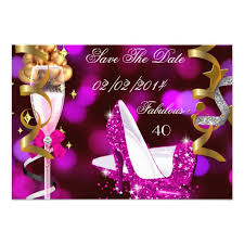 save the date fabulous 40 pink gold bubbles card glitter