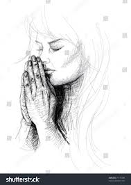 portrait young woman praying realistic sketch stock vector