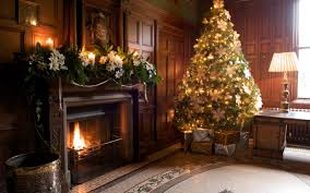 living rooms with stone fireplaces at christmas stovers