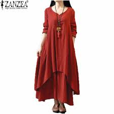 cotton linen boho long maxi dress casual loose long dresses