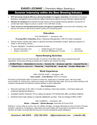 internship resume exles internship resume sle
