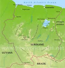South America Physical Map Suriname Physical Map