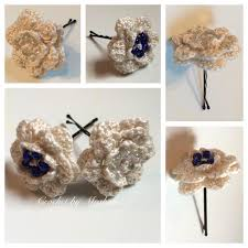 handmade hair accessories wedding hair accessories bobby pins vintage crochet thread