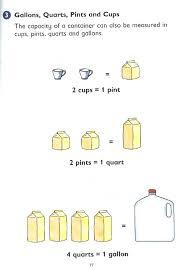 cup pint quart gallon worksheet test prep workbooks for nj ask test itbs terranova stanford test