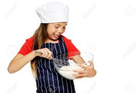 Baking Whisk by Adorable Young Chef Mixing Flour With Whisk For Baking And