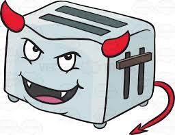 toast emoji devilish pop up toaster smiling with fangs horns and tail emoji