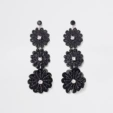 black earrings black floral lace drop stud earrings earrings jewelry women