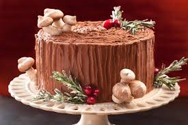 Christmas Cake Decoration Ideas Uk Black Forest Yule Stump Cake Recipe Chowhound