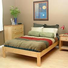 beds corner table between twin beds unfinished wood zen platform