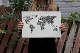 World Map Prints by Design World Map Art Print Black And White Drawing Prints