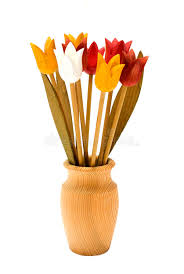 Wooden Flowers Wood Flowers In A Wooden Vase Stock Photos Image 9773153