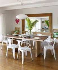 rectangle long solid wood table 6 white plastic chairs for dining