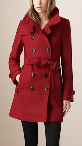 burberry funnel neck wool cashmere twill trench coat in red lyst