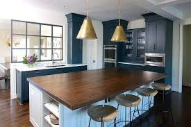 butcher block kitchen island butcher block kitchen island with brass pendants and stools