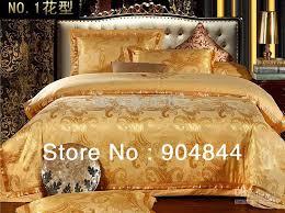 Yellow And White Duvet Yellow Golden Luxury Cotton Silk Blend Jacquard Bedding Set
