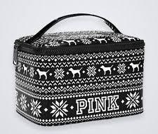 victoria s secret pink black sweater train case makeup cosmetic beauty bag pouch
