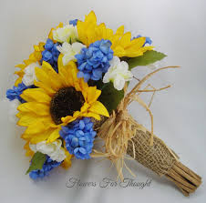sunflower bouquets sunflower bouquet with blue hyacinth rustic wedding flowers