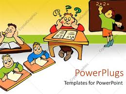 powerpoint template student confused about math with child at