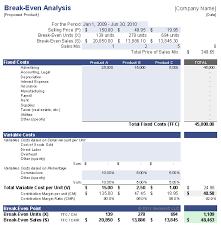 business case calculation template break even analysis template