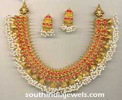 gold pearl necklace sets images Gold antique ruby pearl necklace set south india jewels jpg